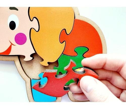 Quebra cabeça Elefante Brinquedo de Madeira