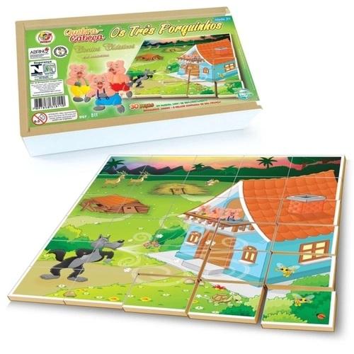 Quebra Cabeça Os Três Porquinhos Brinquedo Educativo de Madeira