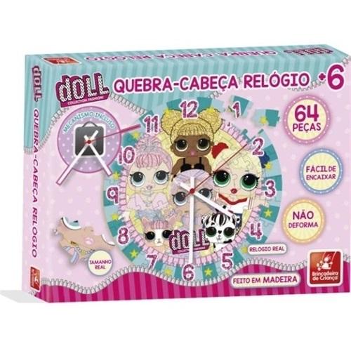 Quebra cabeça Relógio Doll Brinquedo Educativo de Madeira