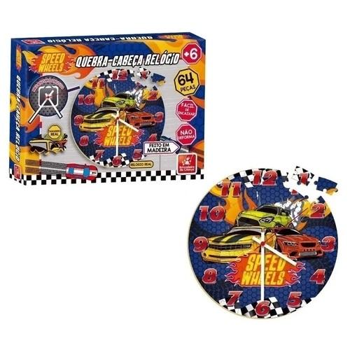 Quebra cabeça Relógio Speed Brinquedo Educativo de Madeira