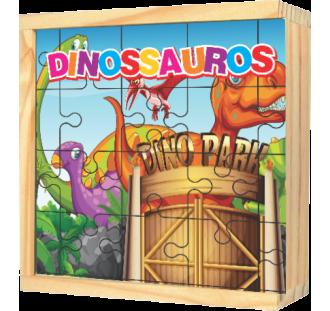 Quebra Cabeças Gigante de Madeira Dinossauros 24 peças
