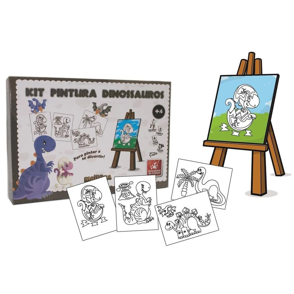 Super Kit Pintura Dinossauro Brinquedo Educativo de Madeira