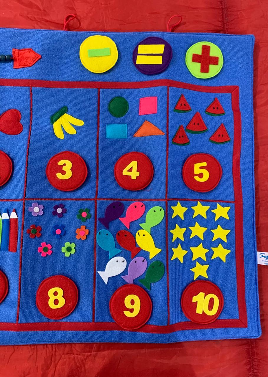 Tapete Painel de Números Brinquedo em feltro