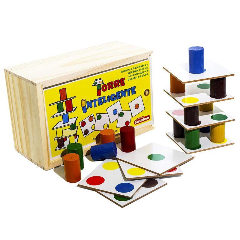 Torre Inteligente Brinquedo Educativo de Madeira