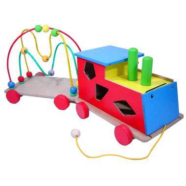 Trem de Madeira Educativo Trenzinho Formas Baby