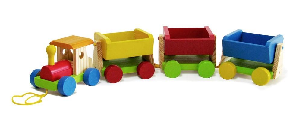 Trem de Carga Brinquedo de Madeira