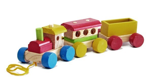 Trem Médio Brinquedo Educativo de Madeira