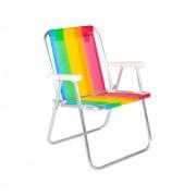 Cadeira de Praia Alta em Alumínio Belfix Arco Iris