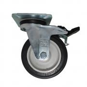 Rodízio PVC Placa Giratória Preto Com Freio Schioppa 3 Pol GL 312 BP 60 Kg