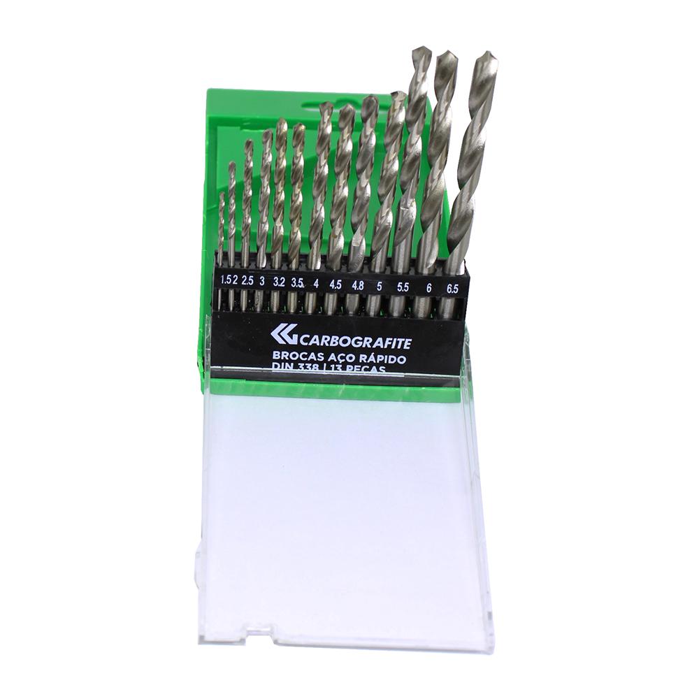 Brocas de Aço Rápido DIN 338 com 13 peças  1,5 a 6,5 mm