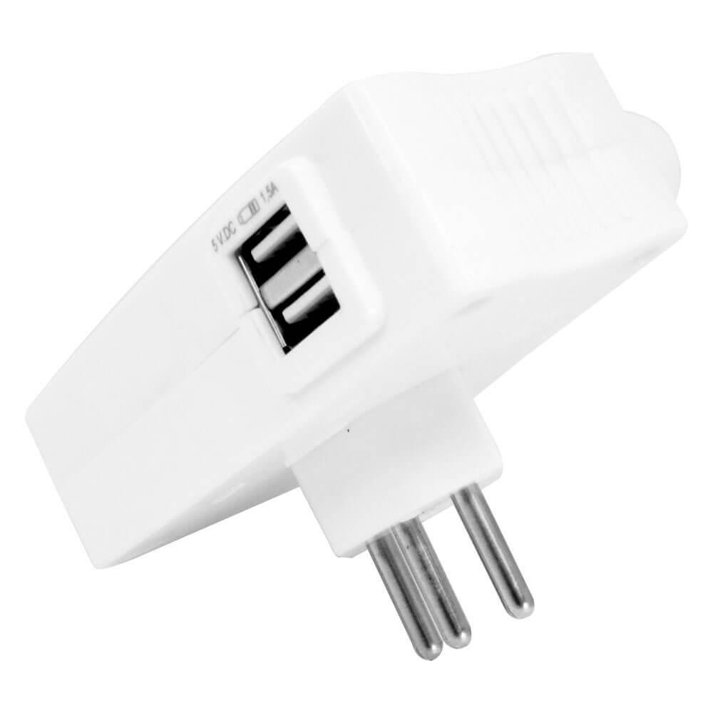 Carregador Multi com 2 entradas USB e 2 tomadas Daneva Branco