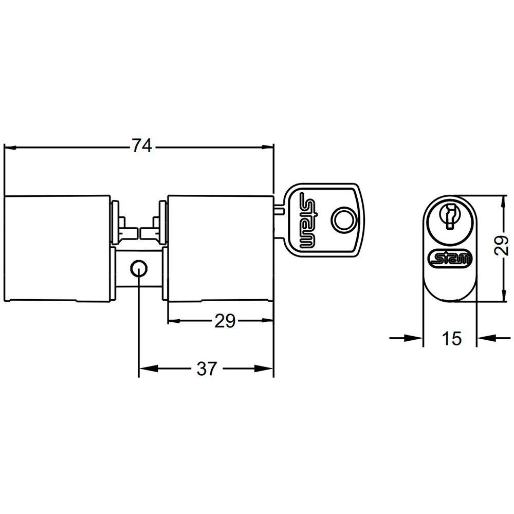 Cilindro para Fechadura Stam 803/804/1801 Pino Cromado