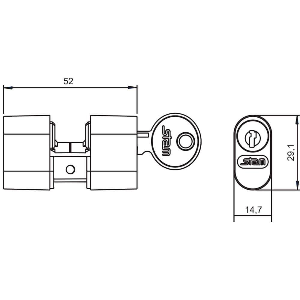 Cilindro para Fechadura Stam Gorje 501/502/503 Grafite