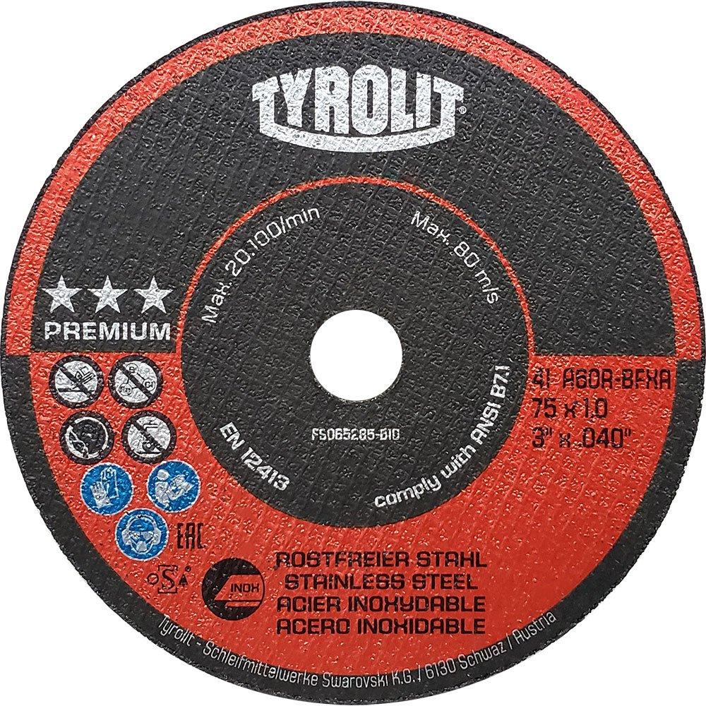 Disco Corte Fino Inox Tyrolit Premium A60R-BFXA 3 x 1,0mm x 3/8 Pol