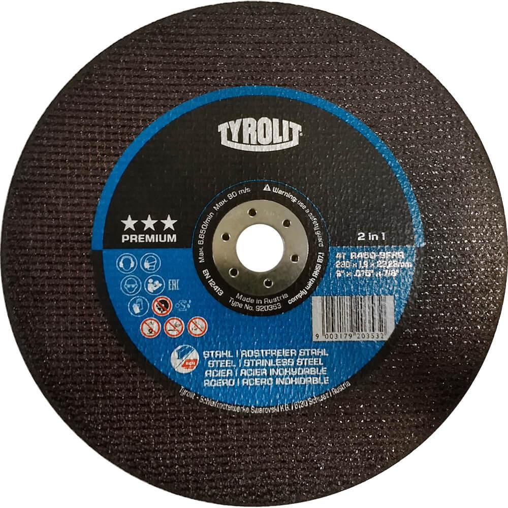 "Disco Corte Fino Tyrolit Premium Long Life 9"" x 075"" x 7/8"""