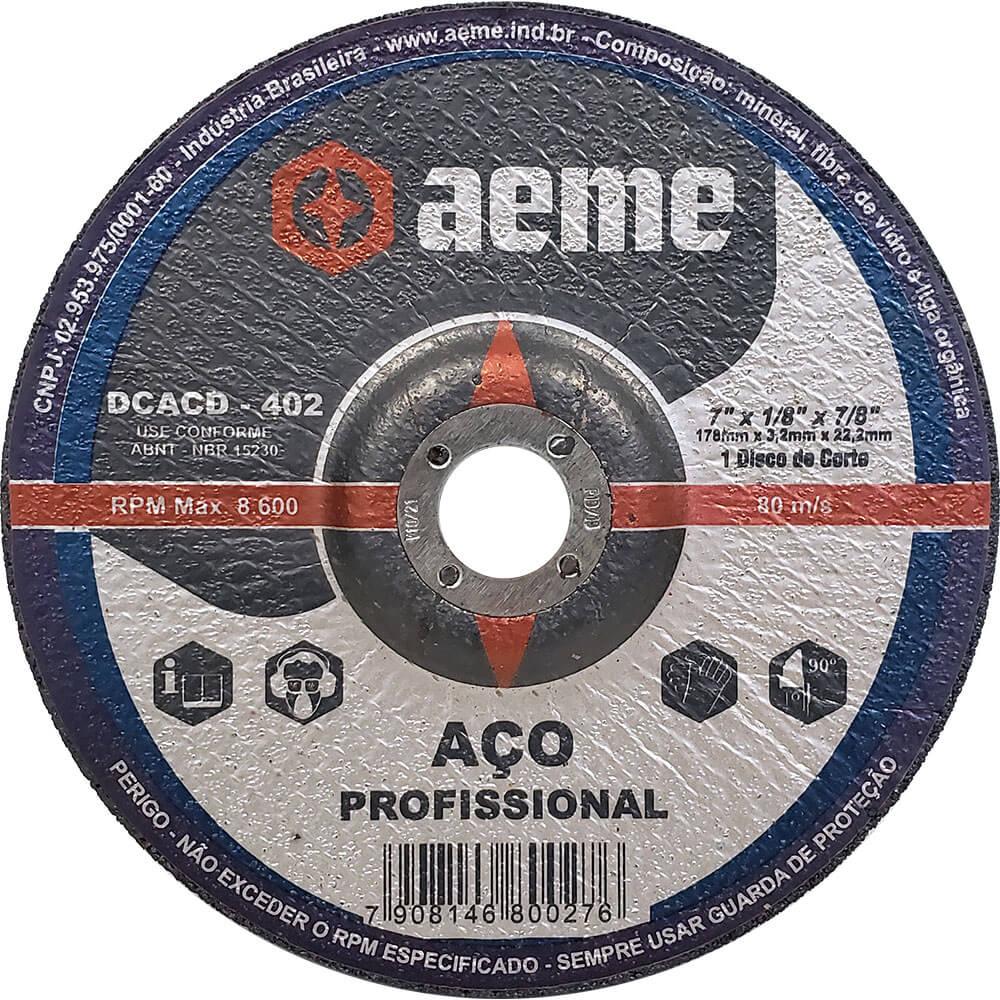Disco de Corte Aço Aeme Centro Deprimido DCACD 402 7 x 1/8 x 7/8
