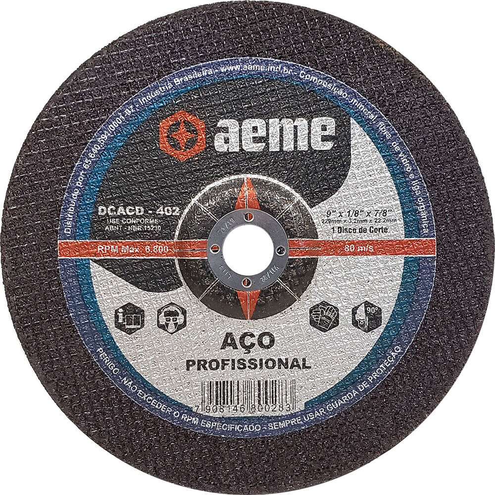 Disco de Corte Aço Aeme Centro Deprimido DCACD 402 9 x 1/8 x 7/8