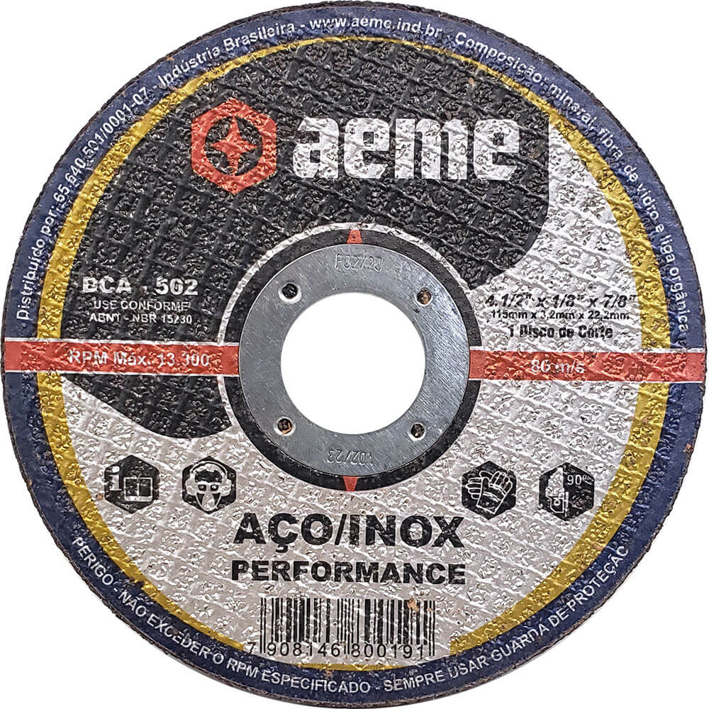 Disco de Corte para Aço / Inox Aeme DCA 502 4.1/2 x 1/8 x 7/8