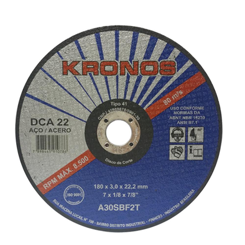 """Disco de Corte Aço Kronos DCA 22 Serralheiro 7""""x1/8""""x7/8"""""""