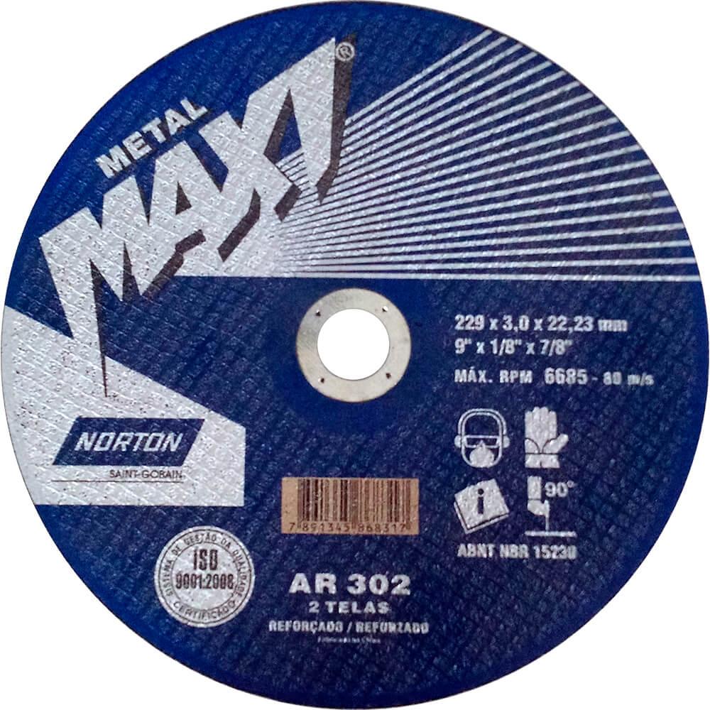 "Disco de Corte Aço Norton Maxi AR 302 9"" x 1/8"" x 7/8"""