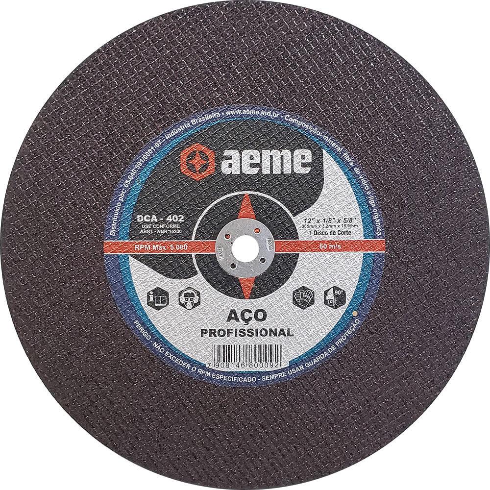 Disco de Corte Aço Profissional Aeme DCA 402 12 x 1/8 x 5/8 Pol