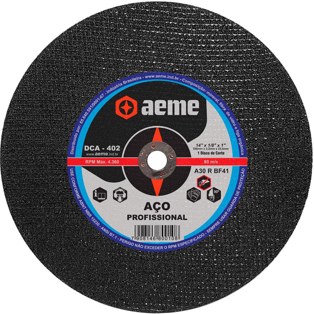 Disco de Corte Aço Profissional Aeme DCA 402 14 x 1/8 x 1 Pol