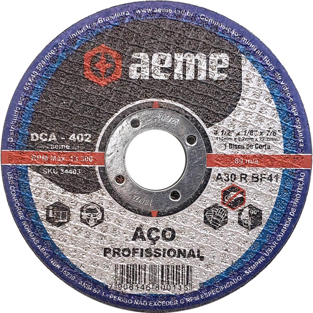 Disco de Corte Aço Profissional Aeme DCA 402 4.1/2 x 1/8 x 7/8 Pol
