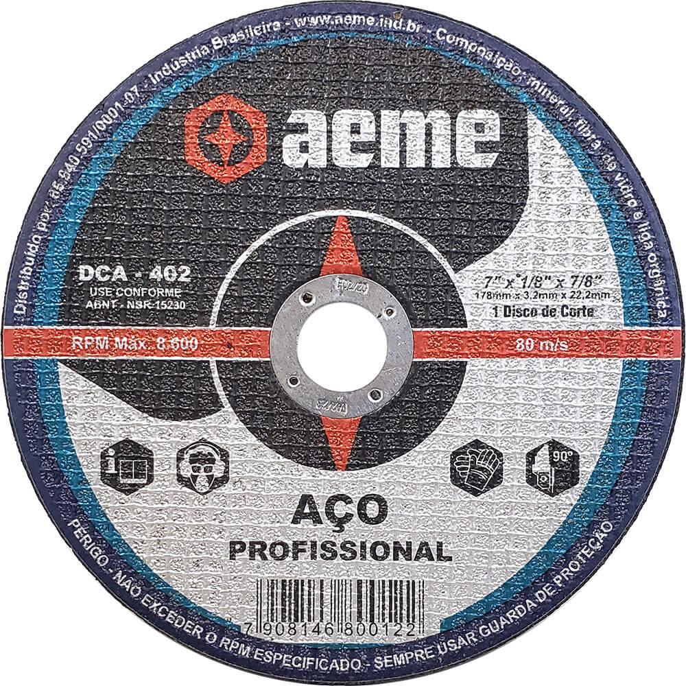 Disco de Corte Aço Profissional Aeme DCA 402 7 x 1/8 x 7/8
