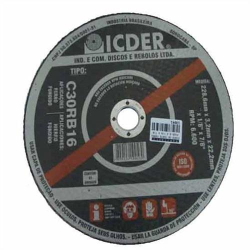 "Disco de Corte Ferro Fundido Icder C30RB16 9"" x 1/8"" x 7/8"""