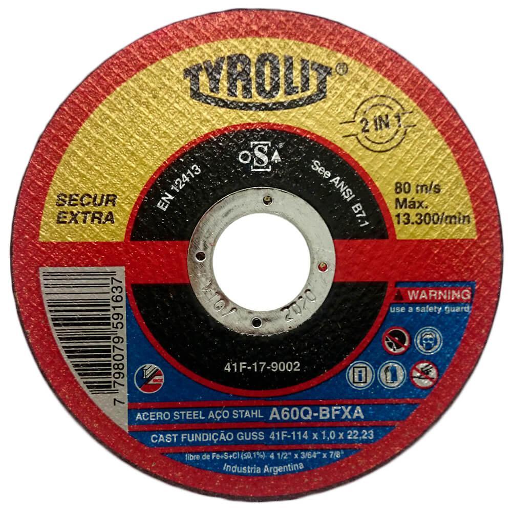 "Disco de Corte Fino para Inox Tyrolit Secur 4.1/2"" x 1,0mm"