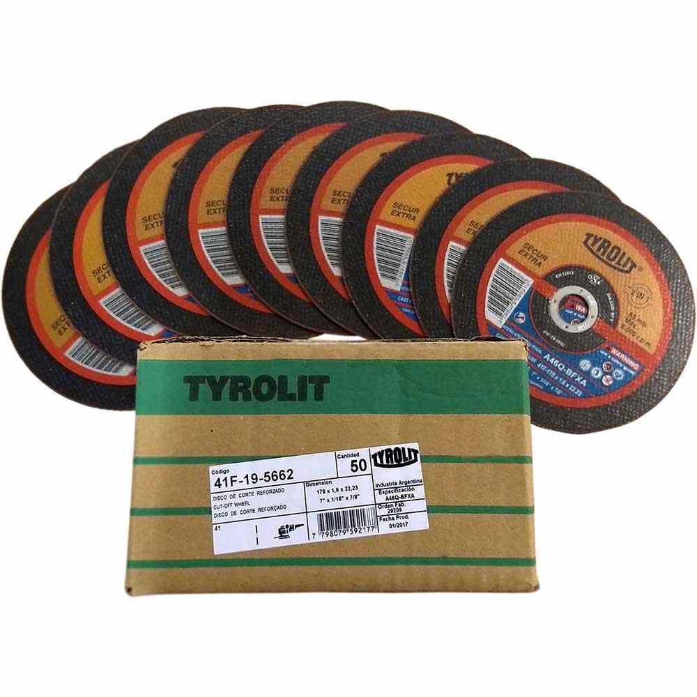 """Disco de Corte Fino para Inox Tyrolit Secur 7"""" x 1,6mm - 50 peças"""