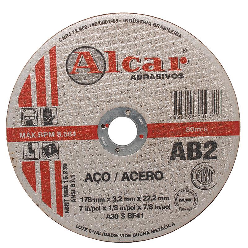 Disco de Corte para Aço Alcar 2T AB2 7 x 1/8 x 7/8
