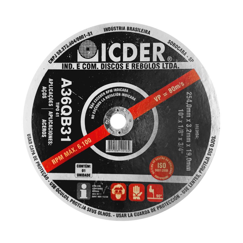 Disco de Corte para Aço Icder 10 x 1/8 x 3/4