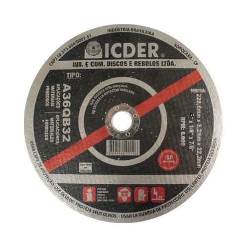 Disco de Corte para Aço Icder 2T 10 x 1/8 x 1
