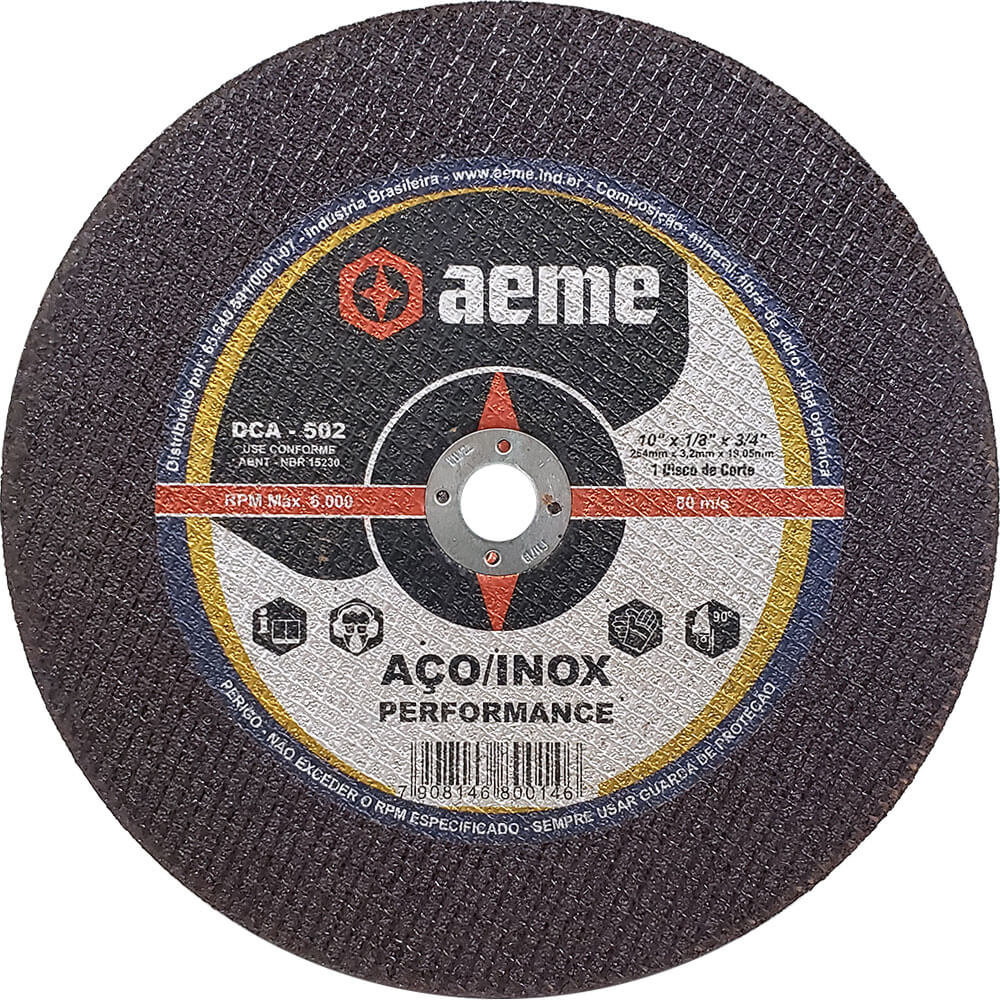 Disco de Corte para Aço / Inox Aeme DCA 502 10 x 1/8 x 3/4
