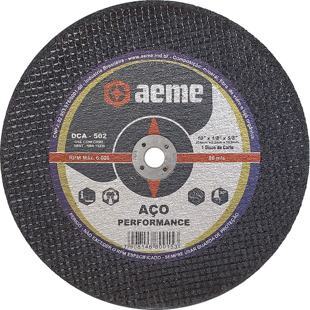 Disco de Corte para Aço / Inox Aeme DCA 502 10 x 1/8 x 5/8