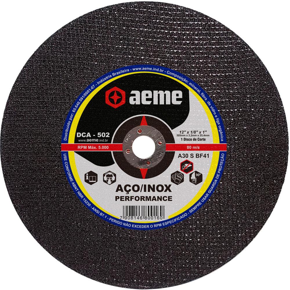 Disco de Corte para Aço / Inox Aeme DCA 502 12 x 1/8 x 1