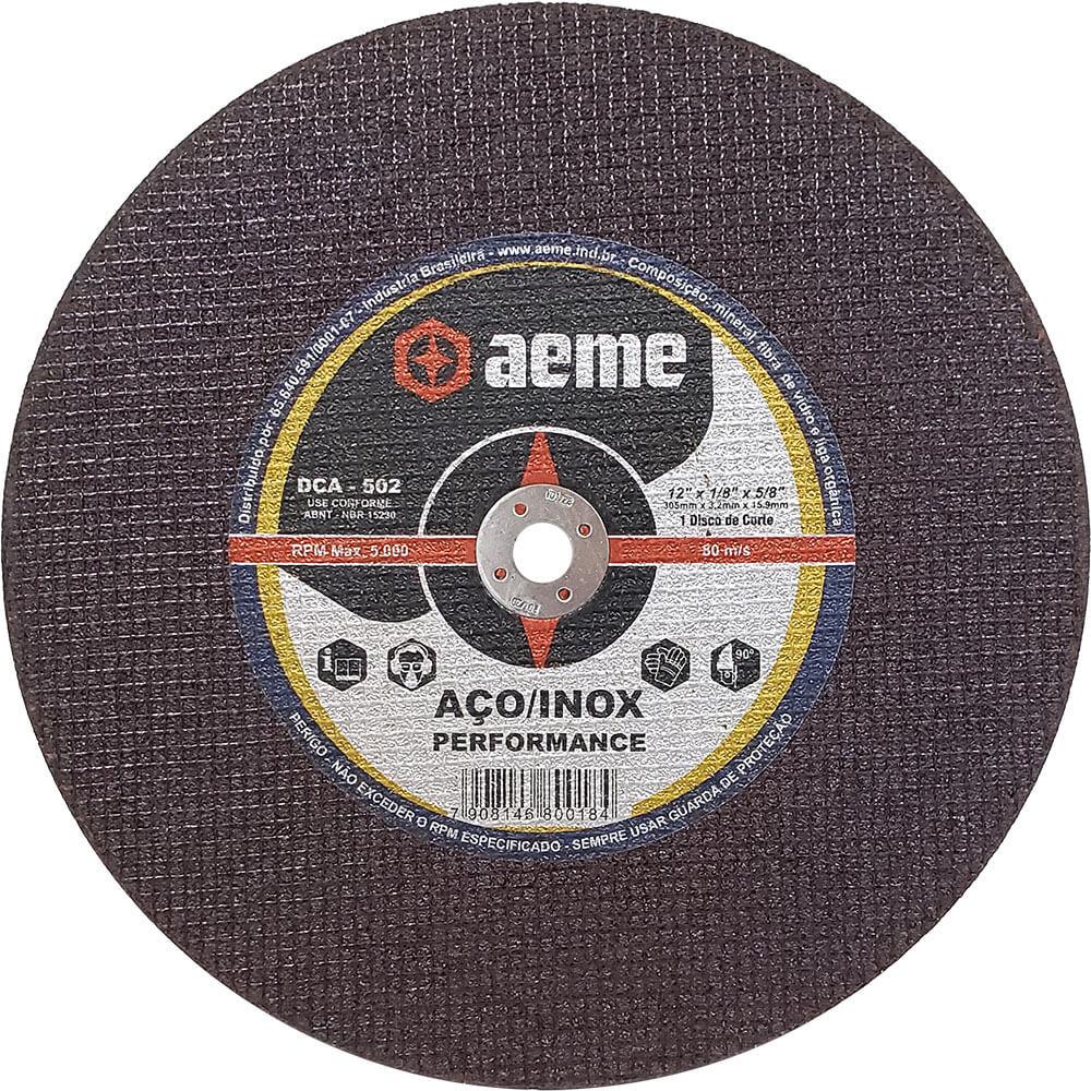 Disco de Corte para Aço / Inox Aeme DCA 502 12 x 1/8 x 5/8