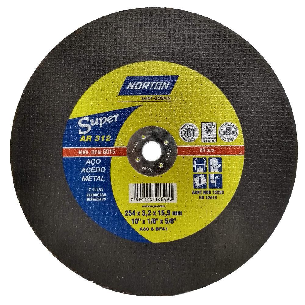 Disco de Corte para Aço Norton Super AR 312 10 x 1/8 x 5/8