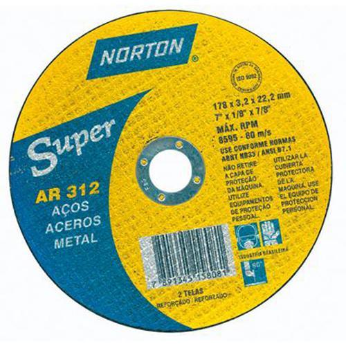 """Disco de Corte para Aço Norton Super AR 312 14"""" x 1/8"""" x 1"""""""