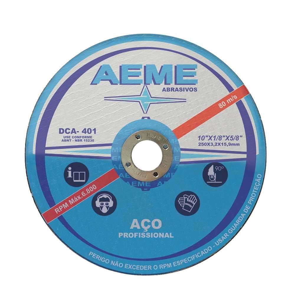 Disco de Corte para Aço Profissional Aeme DCA 401 10 x 1/8 x 5/8 Pol