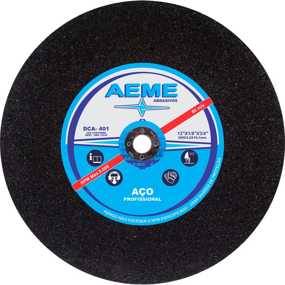 Disco de Corte para Aço Profissional Aeme DCA 401 12 x 1/8 x 3/4 Pol