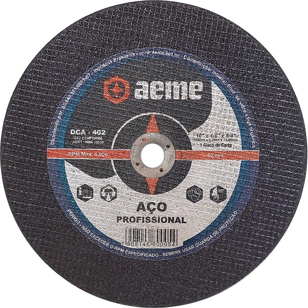 Disco de Corte para Aço Profissional Aeme DCA 402 10 x 1/8 x 3/4 Pol