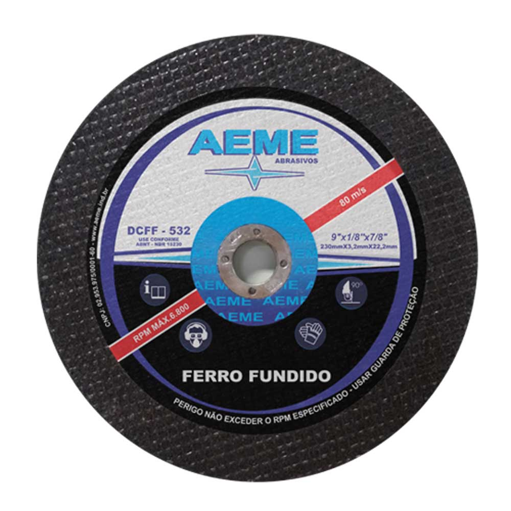 Disco de Corte para Ferro Fundido Aeme DCFF 532 9 x 1/8 x 7/8 - 50 Peças
