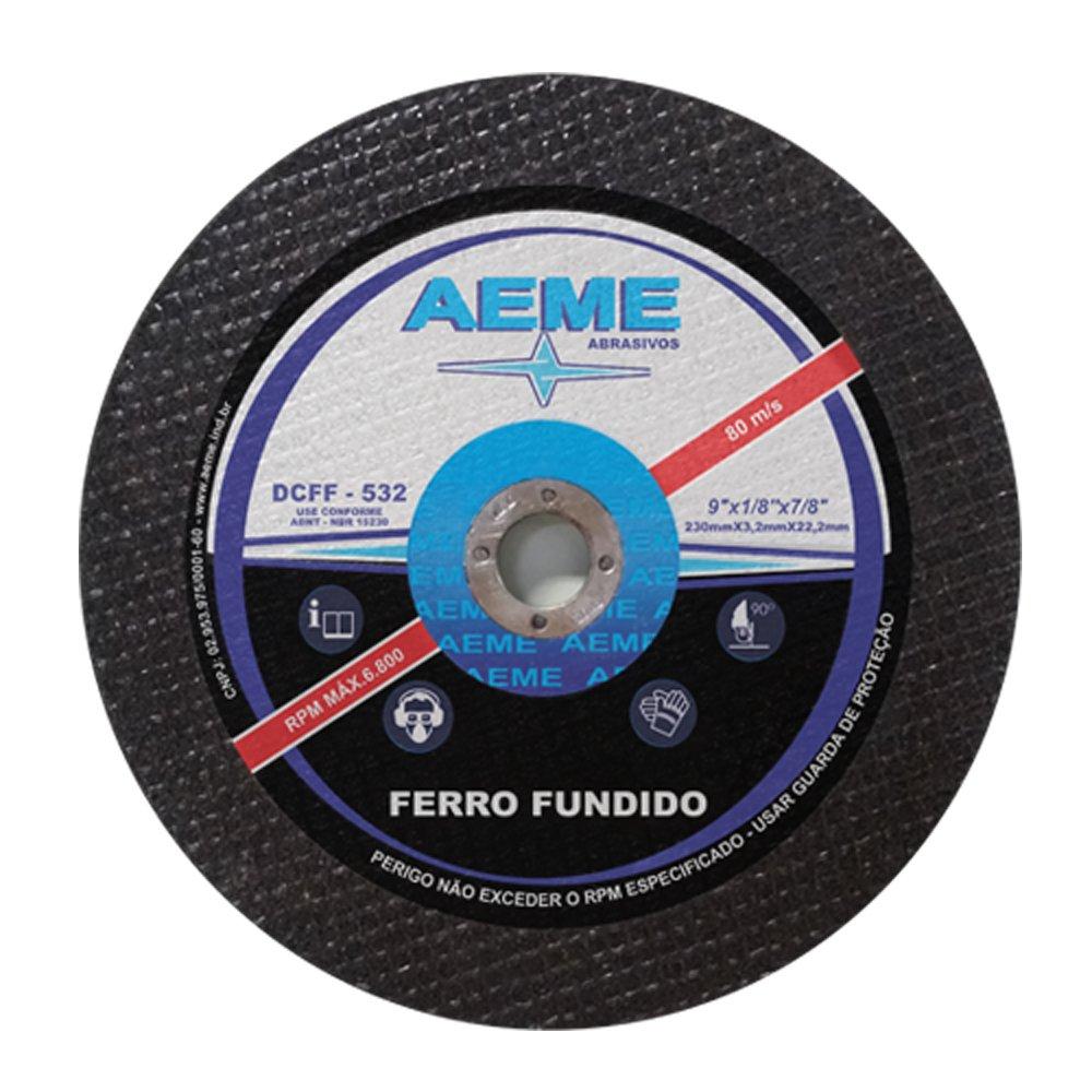 Disco de Corte para Ferro Fundido Aeme DCFF 533 12 x 5/16 x 1 - 15 Peças