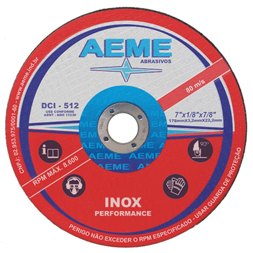 "Disco de Corte para Inox Aeme DCI 512 7"" x 1/8"" x 7/8"""