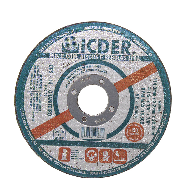 """Disco de Corte Refratário 2T CRS14 4.1/2"""" x 1/8"""" - Icder"""