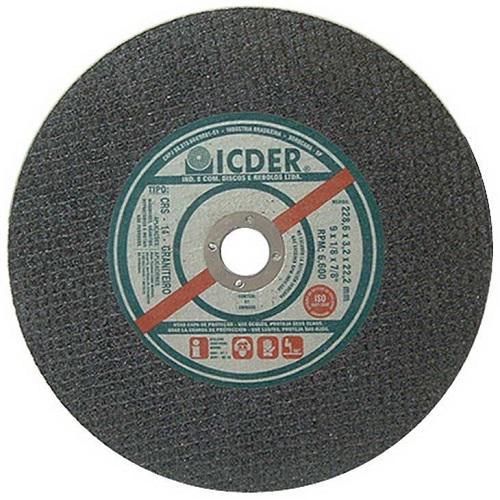 """Disco de Corte Refratário 2T Icder CRS14 9"""" x 1/8"""" x 7/8"""""""