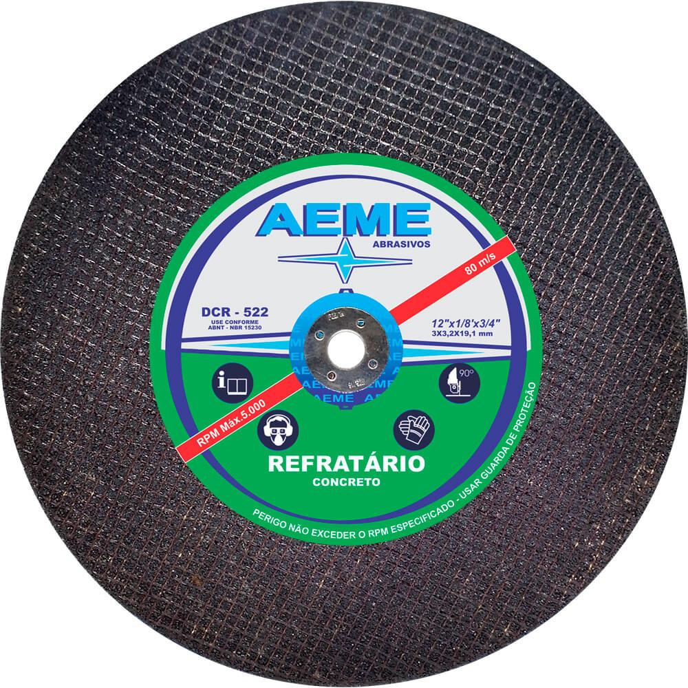Disco de Corte Refratário Aeme DCR 522 12 x 1/8 x 3/4