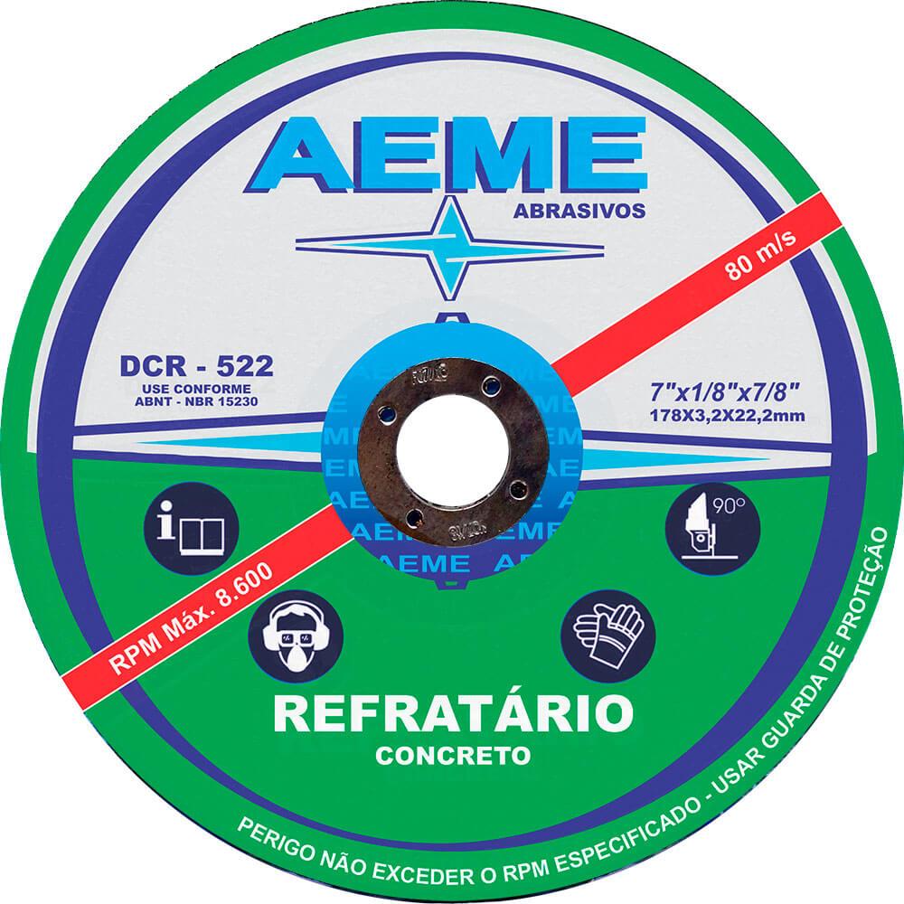 Disco de Corte Refratário Aeme DCR 522 7 x 1/8 x 7/8
